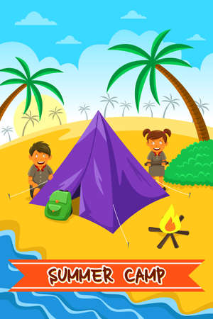 kid cartoon: A vector illustration of summer camp poster design Illustration