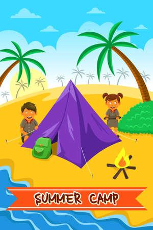 campamento: Una ilustración vectorial de diseño de verano del cartel campamento