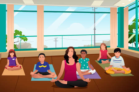yoga class: A vector illustration of happy kids in a yoga class