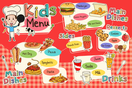 main dishes: A vector illustration of colorful kids meal menu Illustration