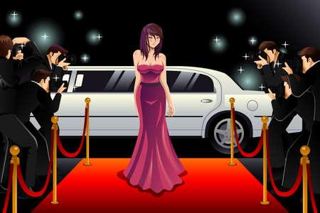 Een vector illustratie van de modieuze vrouw die naar een rode loper evenement Stock Illustratie