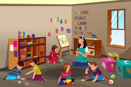 preescolar: Una ilustración vectorial de estudiantes que estudian en clase con el profesor Vectores