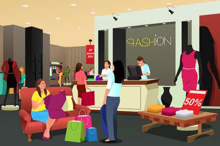 Una ilustración vectorial de las mujeres que hacen compras en una tienda de ropa