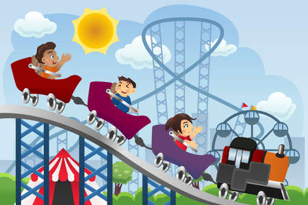 A vector illustration of happy children playing roller coaster in a amusement park Illustration
