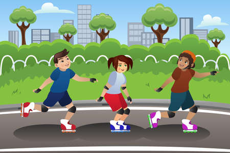 rollerblading: A vector illustration of a group of kids rollerblading outdoor