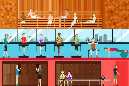 Una ilustración del vector de la escena en el interior gimnasio