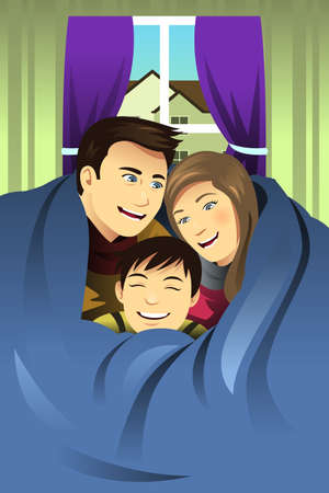father and son: A vector illustration of happy family hugging together