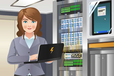 server room: A vector illustration of woman working in computer server room