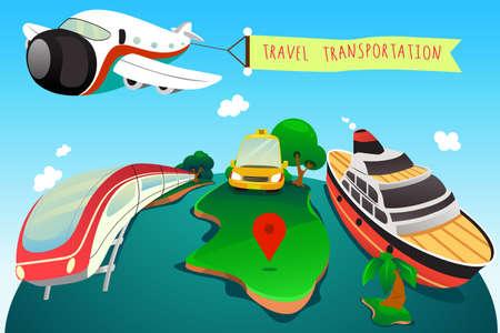 transportes: Una ilustración de transporte de viaje