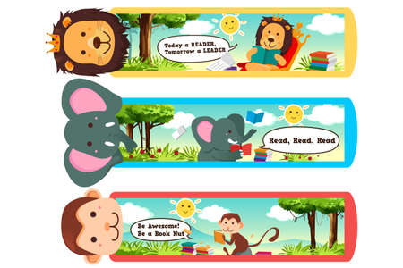 themed: A illustration of animal themed bookmarks Illustration
