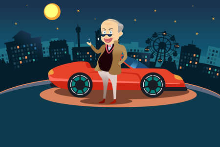 A illustration of happy rich man standing in front his sport car