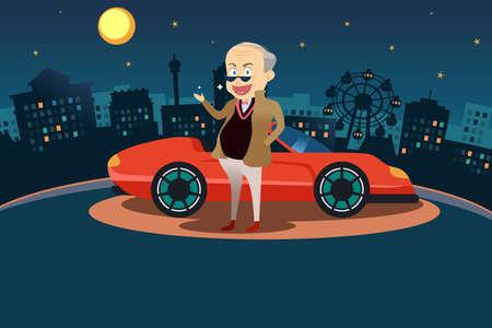 personas mayores: Un ejemplo de hombre rico feliz de pie delante de su coche deportivo Vectores