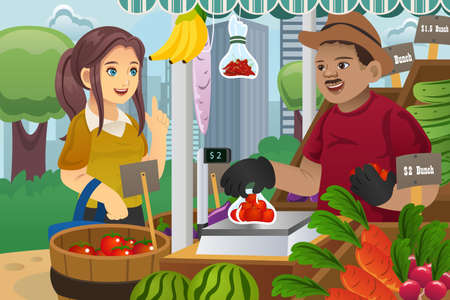 A illustration of beautiful woman shopping in an outdoor farmers market Ilustração