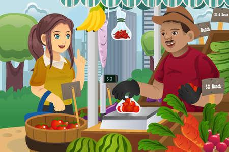 Ilustracja piękne kobiety zakupy w rynku rolników na zewnątrz
