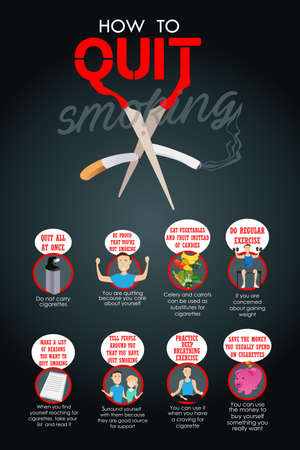 quit: A illustration of how to quit smoking infographic Illustration