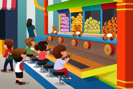 A illustration of happy kids playing in carnival games