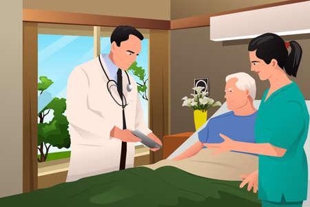 Een illustratie van de arts die aan zijn patiënt in het ziekenhuis
