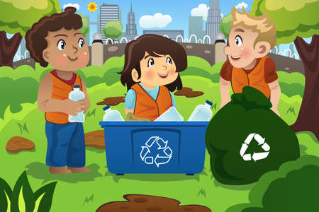 A illustration of kids recycles bottles into a recycling bin