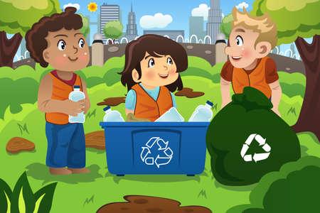 Une illustration des enfants recycle les bouteilles dans un bac de recyclage Banque d'images - 54601396