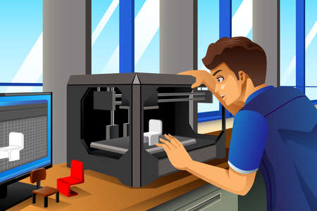 A illustration of male architect using a 3D printer in office