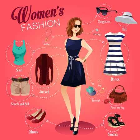 A illustration of women fashion infographic