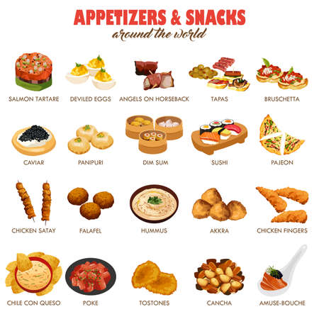 A illustration of appetizers and snacks around the world icon sets