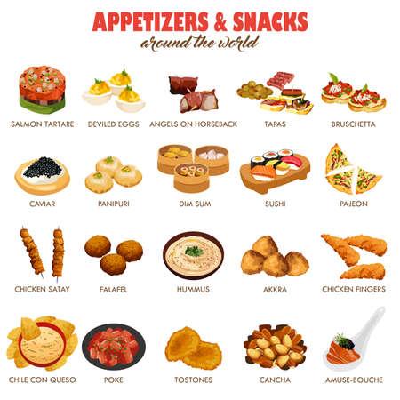 세계 아이콘 세트 주위 전채와 간식의 그림
