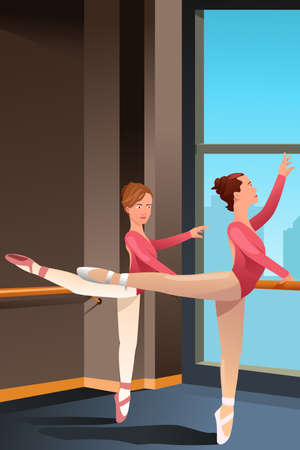 A illustration of cute ballerina girls practicing ballet dance in a studio