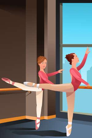 ballet studio: A illustration of cute ballerina girls practicing ballet dance in a studio