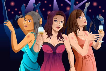 Una illustrazione vettoriale di giovani donne felici moderne che ballano in un club Vettoriali