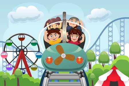 Una ilustración vectorial de niños felices jugando montaña rusa en un parque de diversiones
