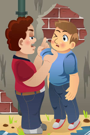 schoolmate: A vector illustration of little boy bullying his friend for bullying concept