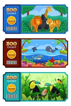 zoologico: Una ilustración vectorial de diseño de billete de zoológico