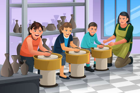 workshop: A vector illustration of group of children shaping clay in pottery class Illustration