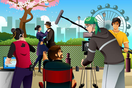filmmaker: A vector illustration of movie production scene