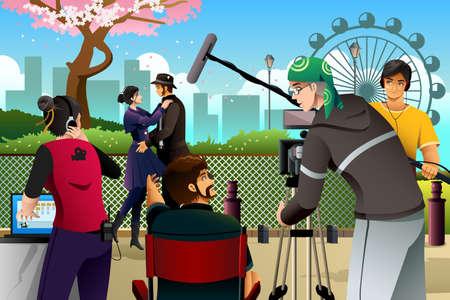 hombre disparando: Una ilustración vectorial de la escena de la producción de películas Vectores