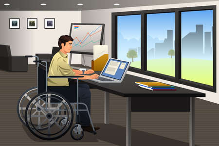 illustration of handicapped businessman working in a modern office
