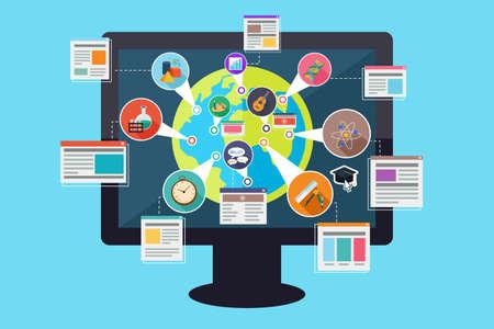 online: illustration of online education concept