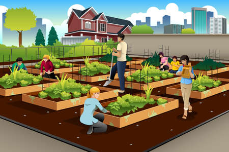 active adult community: illustration of people in community doing gardening together