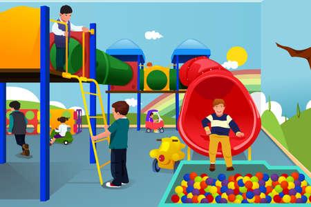 illustratie van gelukkige kinderen spelen in de speeltuin