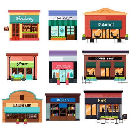 illustrazione di diversi set di icone negozio