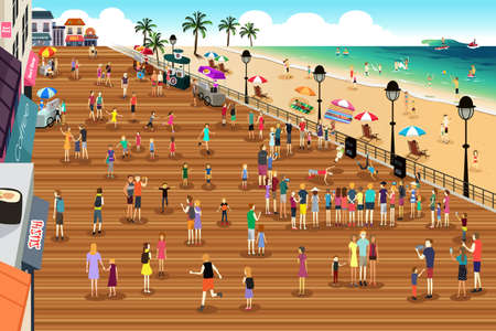 illustration of people in a boardwalk scene