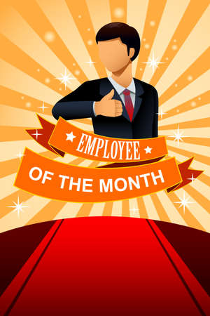 illustration of employee of the month poster frame design  イラスト・ベクター素材
