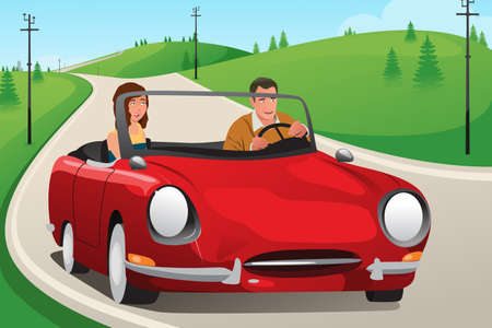 convertible car: A vector illustration of happy couple riding a convertible car Illustration