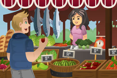 farmers market: A vector illustration of man shopping in an outdoor farmers market