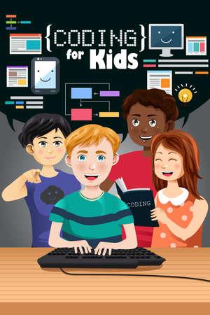 Vektorové ilustrace kódování pro děti plakát