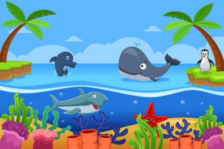 A vector illustration of marine life in the ocean 向量圖像