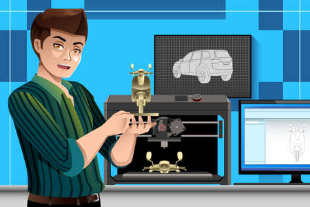 A vector illustration of male architect using a 3D printer in office 向量圖像