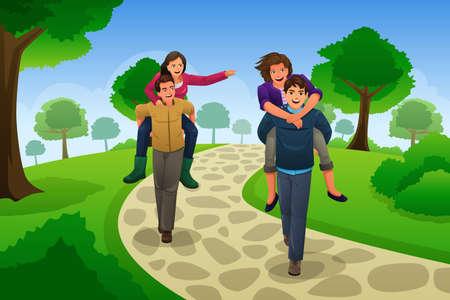 piggyback: A vector illustration of happy couple having a piggyback race