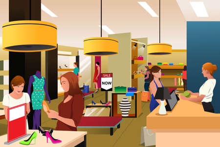 A vector illustration of women shopping in a clothing store Çizim